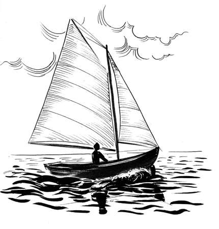 Sailing boat in the sea. Ink black and white drawing