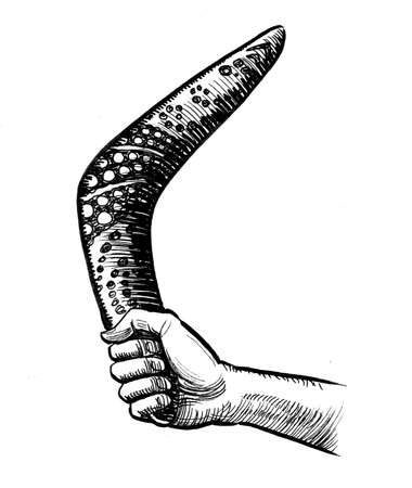 Hand holding boomerang. Ink black and white drawing