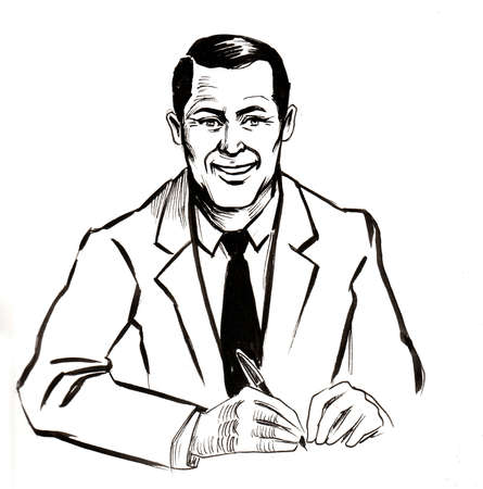 Smiling businessman signing document. Ink black and white drawing