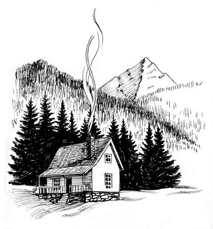 Small house in the mountains. Ink black and white drawing