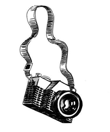 Vintage analog camera. Ink black and white drawing Фото со стока