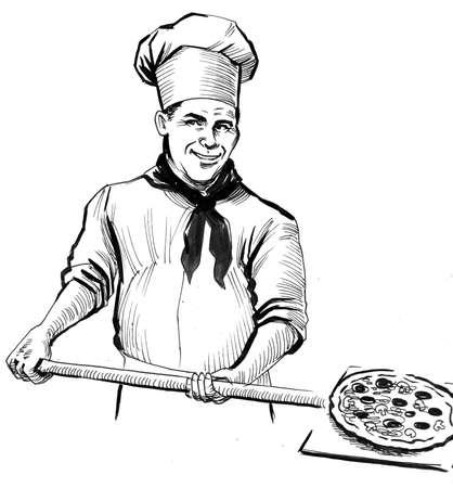 Chef baking pizza. Ink black and white drawing Zdjęcie Seryjne