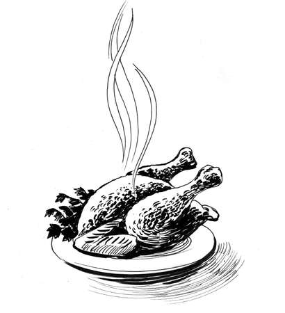 Fried chicken on a plate. Ink black and white drawing