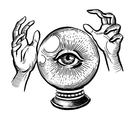 Hand and Chrystal ball with eye. Ink black and white drawing Фото со стока