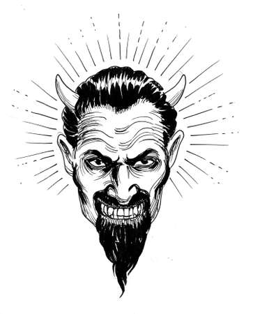 Satan head. Ink black and white drawing