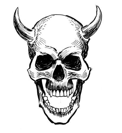 Human skull with horns. Ink black and white drawing Фото со стока