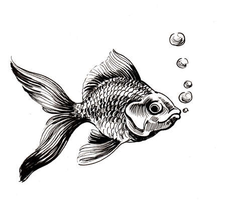 Golden fish in water. Ink black and white drawing