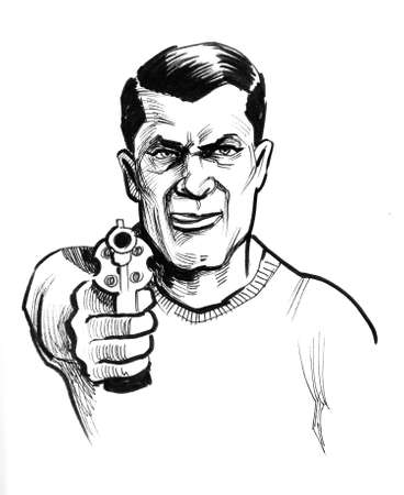 Gangster aiming with a gun. Ink black and white drawing