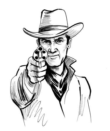 Cowboy aiming with a gun. Ink black and white drawing