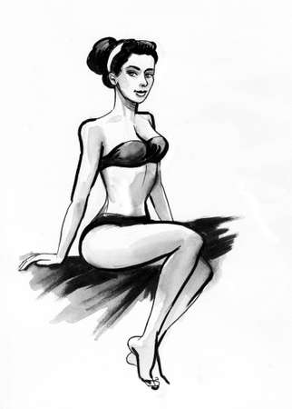 Pretty woman in swimming suit. Ink black and white drawing