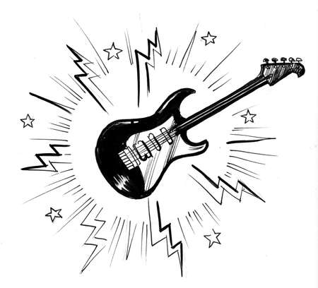 Electric guitar. Ink black and white drawing