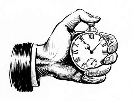 Hand holding watch. Ink black and white drawing