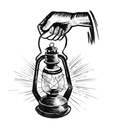 Hand with burning lantern. Ink black and white drawing Zdjęcie Seryjne
