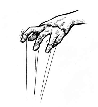 Hand with strings. Ink black and white drawing