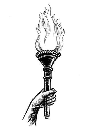 Hand with fire torch. Ink black and white drawing