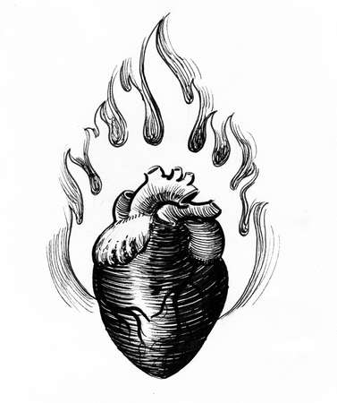 Burning heart. Ink black and white drawing