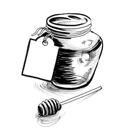 Jar of honey. Ink black and white drawing