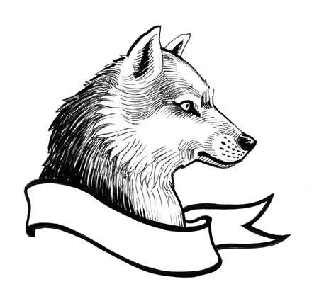 Wolf head and banner. Ink black and white drawing