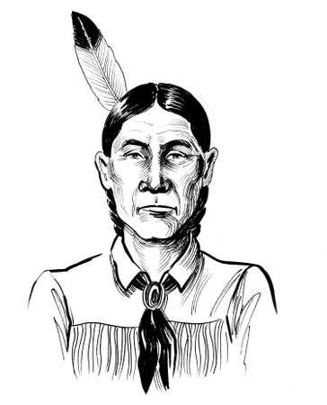 Indian warrior. Ink black and white drawing Zdjęcie Seryjne