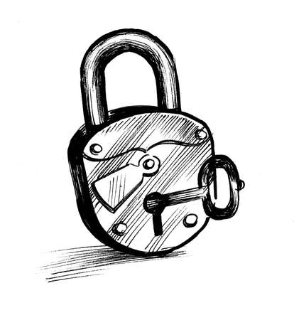 Lock and key. Ink black and white drawing 版權商用圖片