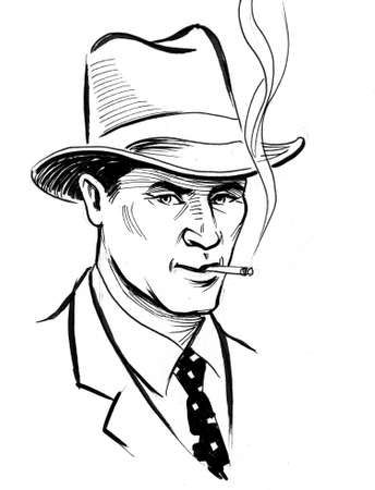 Gentle,am in hat drinking cigarette. Ink black and white drawing