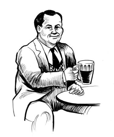 Man drinking beer in the pub. Ink black and white drawing