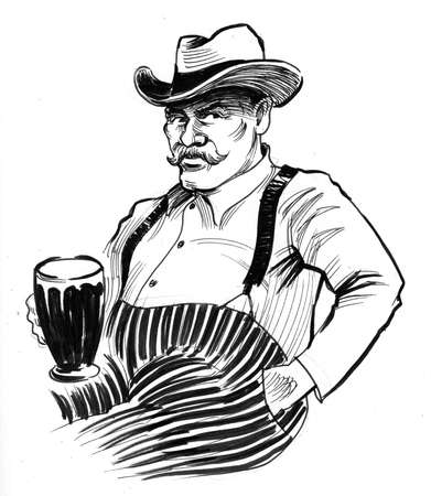 Gentleman drinking beer. Ink black and white drawing