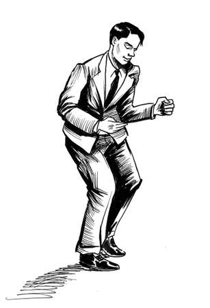 Dancing man. Ink black and white drawing
