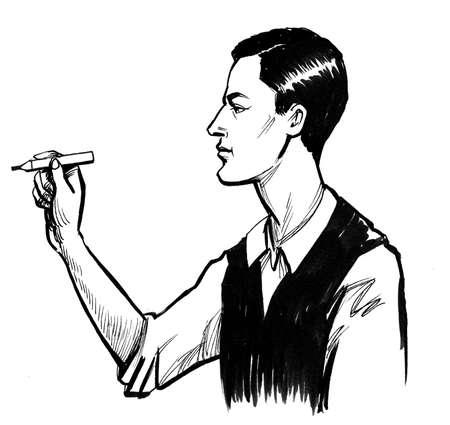 Gentleman playing dart game. Ink black and white drawing Фото со стока