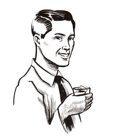 Man drinking whiskey. Ink black and white drawing Фото со стока