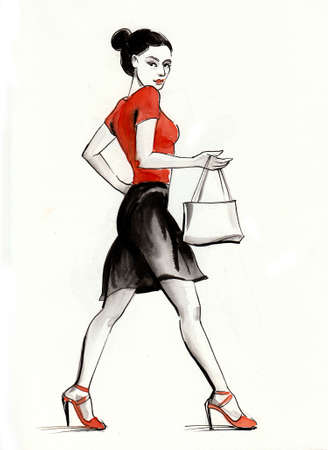 Pretty woman in black skirt and vanity bag. Ink and watercolor drawing Фото со стока