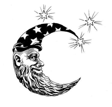 Moon face and stars. Ink black and white drawing Фото со стока