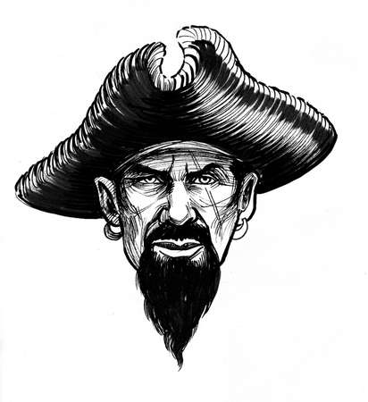 Pirate captain in hat. Ink black and white drawing Фото со стока