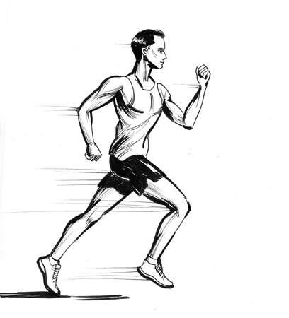Running man. Ink black and white drawing