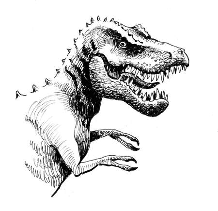 Tyrannosaur Rex. Ink black and white drawing