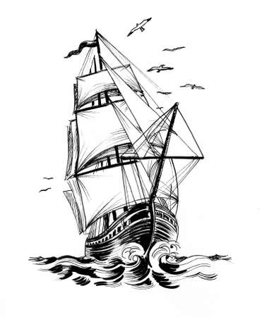 Tall sailing ship and seagulls. Ink black and white drawing