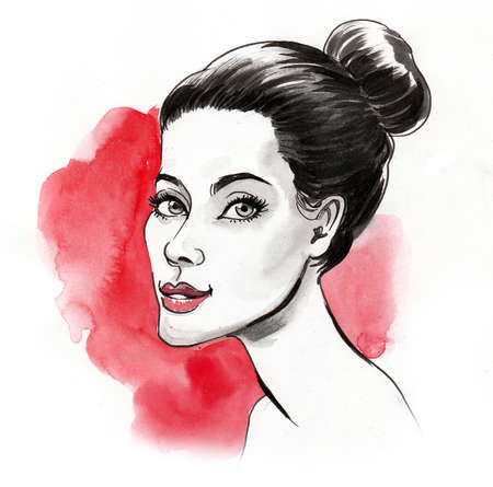 Pretty brunette woman on red background. Ink and watercolor illustration