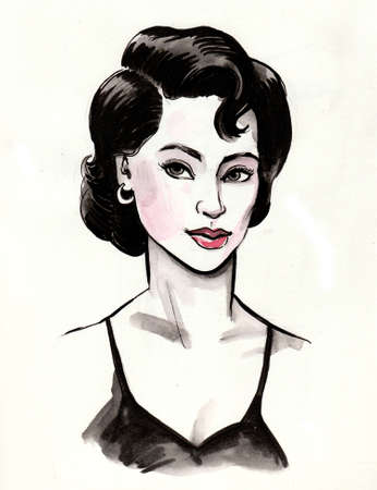Pretty woman in black dress. Ink and watercolor drawing