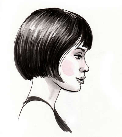 Pretty woman with short hair. Ink and watercolor drawing
