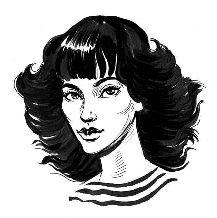 Pretty woman with black hair. Ink and watercolor illustration
