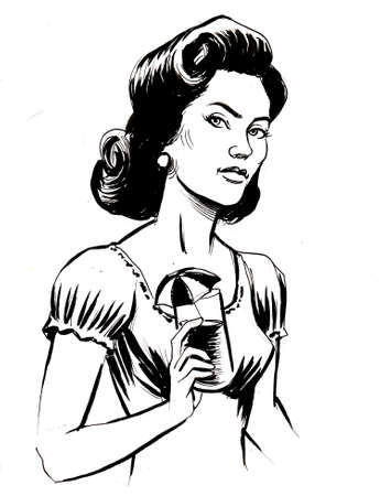 Pretty woman with a cocktail. ink black and white drawing Фото со стока
