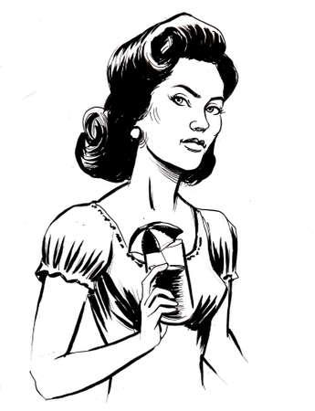 Pretty woman with a cocktail. ink black and white drawing Zdjęcie Seryjne