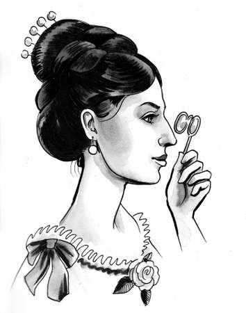 Beautiful vintage style woman. Ink and watercolor illustration
