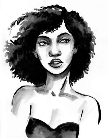 Black beauty. Ink and watercolor drawing