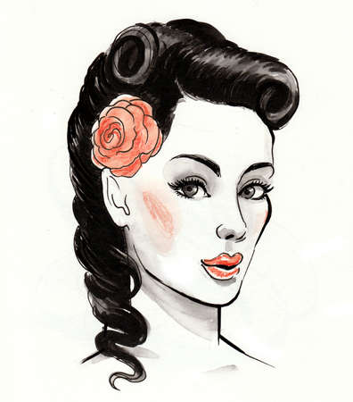 Pretty woman with a rose flower. Ink and watercolor illustration