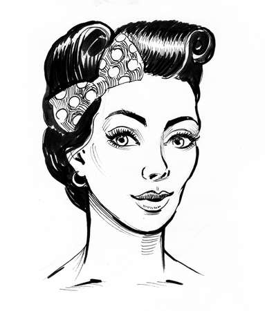 Pretty pinup styled woman. Ink black and white drawing