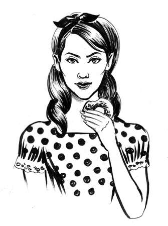 Pretty woman eating doughnut. Ink black and white drawing