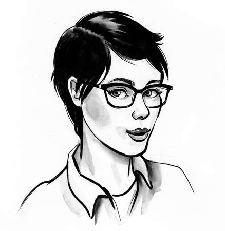 Pretty girl with haircut in glasses. Ink black and white drawing
