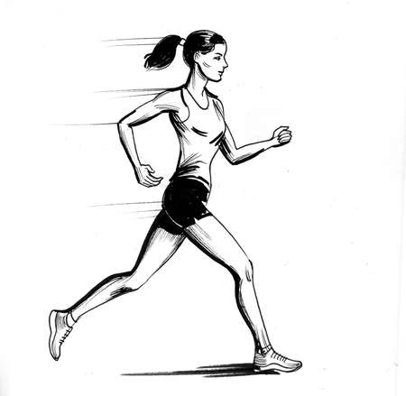 Running sportswoman. Ink black and white drawing Фото со стока