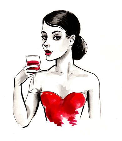 Pretty woman with a glass of red wine Фото со стока